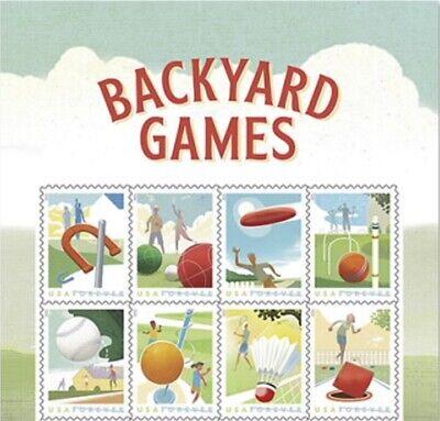 US 5627-5634 5634a Backyard Games forever header block (8 stamps) MNH 2021 8/22