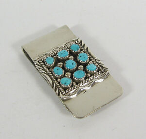 Navajo Turquoise Money Clip Sterling Silver Signed M Jewelry Mens Southwest USA