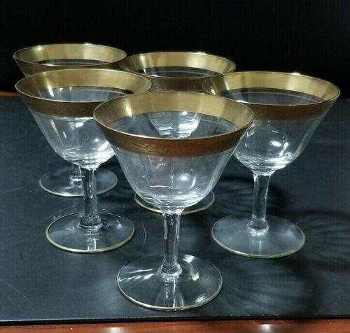 5 Vintage Tiffin Etched Gold rimmed desert wine glasses