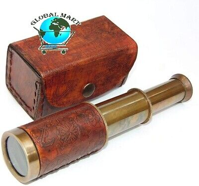 "32/"" Antique Brass Telescope Leather Stitched Victorian Handheld Spyglass Scope"