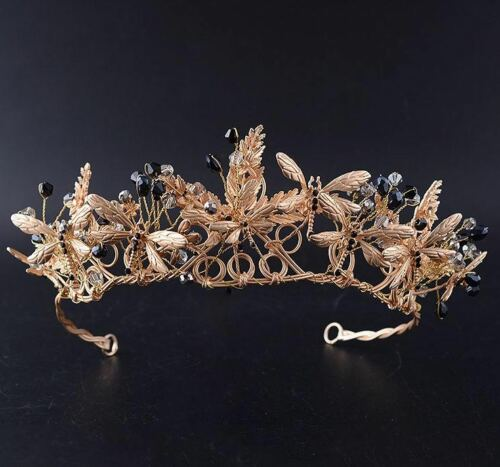 Dragonfly Austrian Rhinestone Crystal Bead Tiara Hair Crown Headband Gold T090