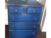 Chest of drawers/blue/painted/shabby chic