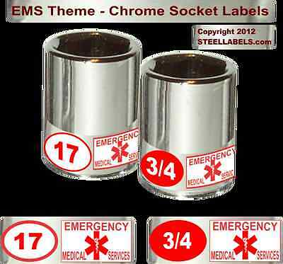 Ems Rescue Theme Label Set Easy Read 90 Chrome Pieces - High Quality Tool Id