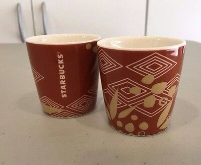 NEW Lot of 2 Starbucks Coffee 2013 'Ethiopia' Brown/Unblemished Demi Demitasse Cup