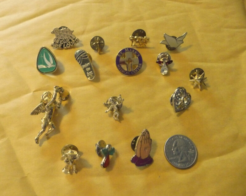 Vintage Religious Holy brooches & pins--lot of 15..#C