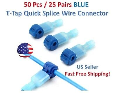 50pc Insulated 16-14 AWG T-Taps Quick Splice Wire Terminal Connectors Kit BLUE