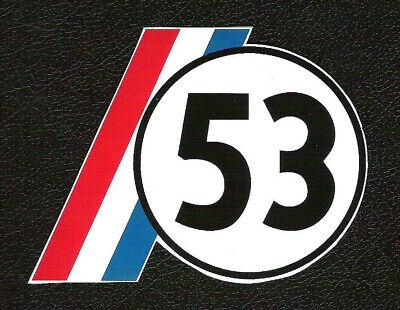 Herbie Love Bug 53 Vintage VW Volkswagen Beetle Sports Car Racing Number Sticker