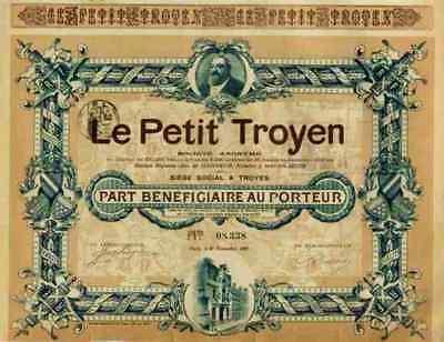 Le Petit Troyen Gaston Arbouin Paris 1907 Zeitung DEKO Gründeraktie 25 Francs