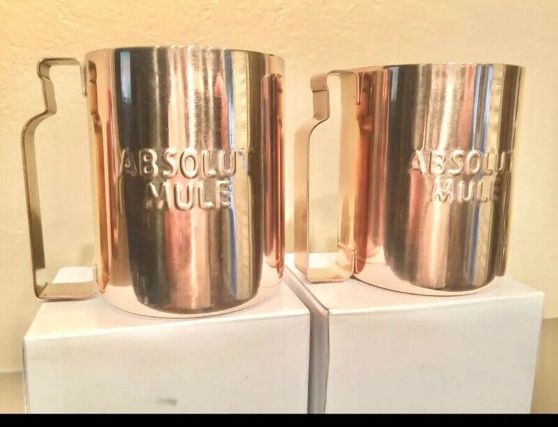 NEW! ABSOLUT VODKA Moscow Mule Set of Two Copper Clad Mugs 12 oz Cups LOT BUNDLE