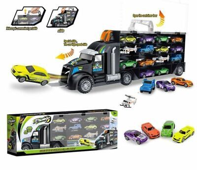 Children Toy Dual Side Transport Car Carrier Truck Toy w/ 10 Cars & 2 Helicopter