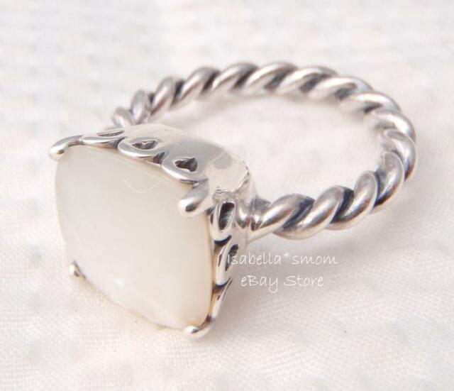 889097073 ... MOTHER OF PEARL Authentic PANDORA White ELEGANT SINCERITY Silver RING  8.5/58 NEW ...