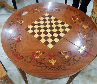 SPIELTISCH rund mit SCHACHFELD, KLAPPTISCH bzw. KONSOLENTISCH, CHESS GAME TABLE