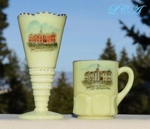 ANTIQUE set STERLING NEBRASKA custard KrysTol glass CUP and VASE M L College