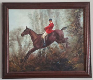 Large Equestrian Oil Painting