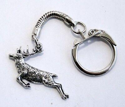 Springing Stag Key-ring (keychain) in Fine English Pewter, Handmade (tsH)