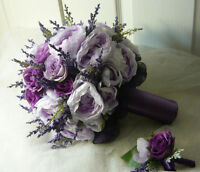 Wedding Bouquet Flower Set In Different Shades Of Purple.