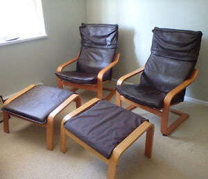 2 bentwood style easy chairs with ottoman