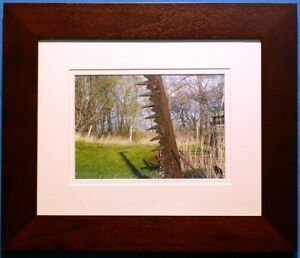 5X7 PHOTO OF ANTIQUE SICKLE MOWER (FRAME 10 X 12)