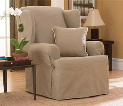 NEW! Cotton Duck Linen T CUSHION WING CHAIR SLIPCOVER