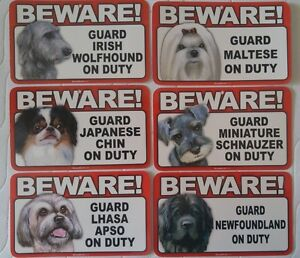 Beware of Dog Sign - Irish Wolfhound to Newfoundland