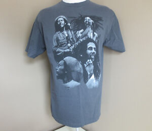 Bob Marley Men's Large Dark Grey T-Shirt 100% Cotton