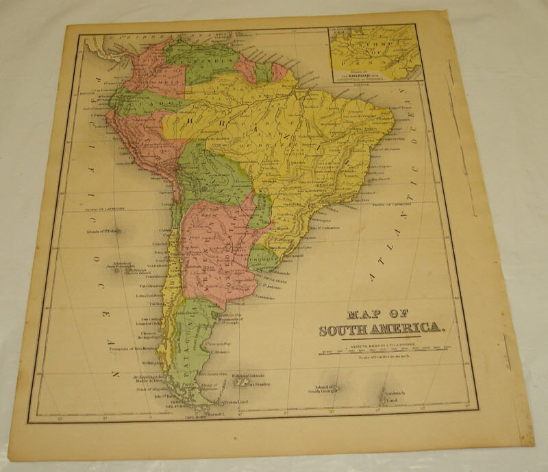 1871 WARREN Antique Map/SOUTH AMERICA/Hand-Colored