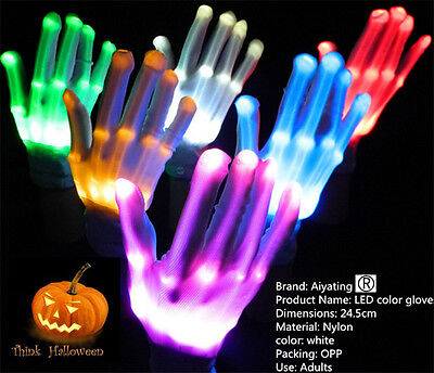 LED Flashing Finger Light Up Gloves Colorful Lighting for Rave Halloween Props