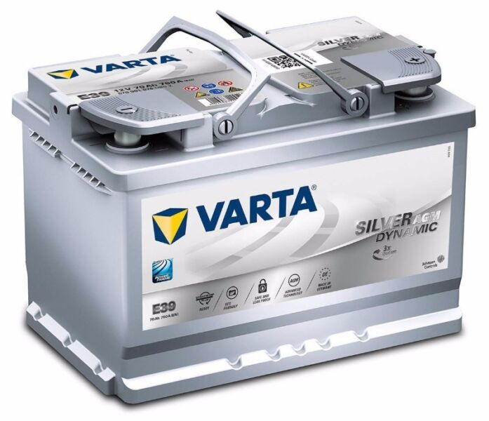VARTA E39H Start Stop AGM 12v 70Ah 652 Car Battery