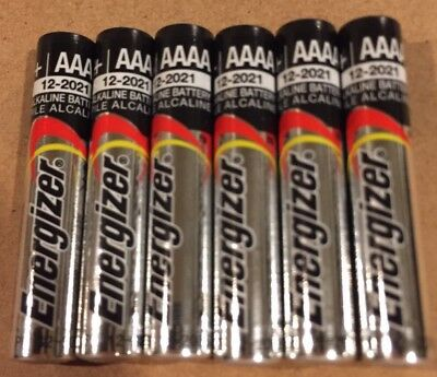 6 NEW Energizer AAAA Alkaline Batteries BULK EXP 12/2021 E96 USA SELLER