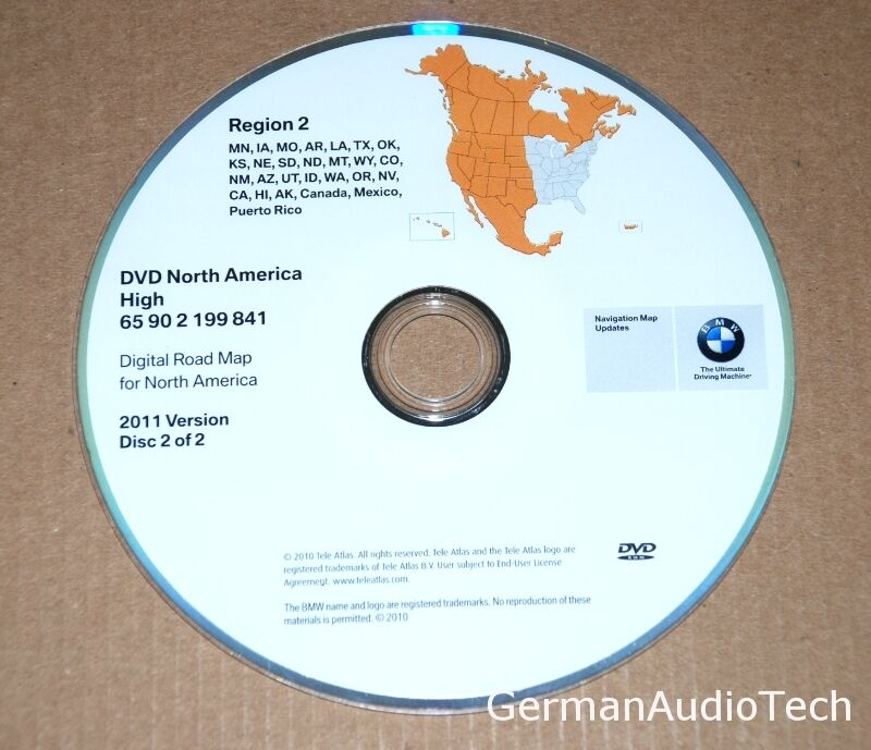 BMW NAVIGATION SYSTEM MAP DVD CD NORTH AMERICA CANADA MEXICO 2011 ...