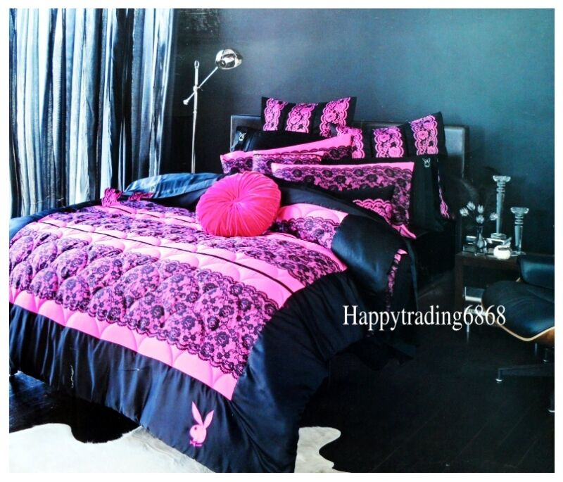 playboy bunny logo racey lace black pink 3pc queen quilt coverlet