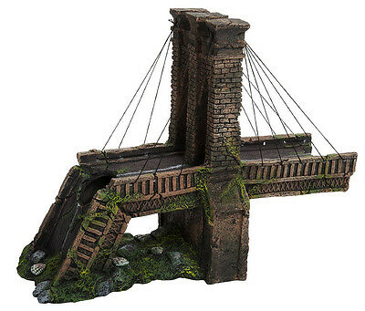 "Penn Plax Brooklyn Bridge Ornament For Fish Tank. Left Side: 14"" X 6"" X 11"""