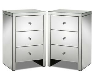Mirrored Nightstands - Set of 2