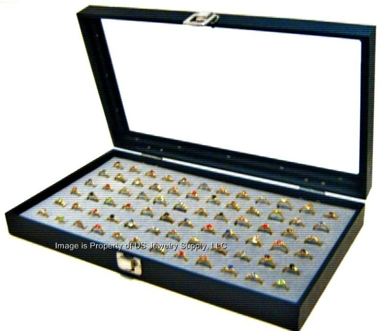 Glass Top Lid 72 Ring Grey Jewelry Sales Display Box Storage Case + Bonus Items