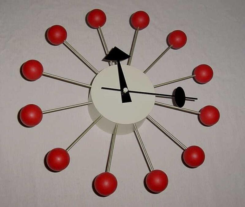 MID CENTURY MODERN REPLICA RED BALL CLOCK NEW IN BOX
