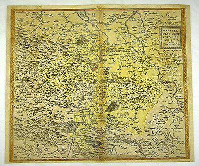 GRAFSCHAFT MANSFELD SACHSEN-ANHALT KOL KUPFERSTICH KARTE ORTELIUS 1595 #D937S