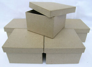 QUALITY Square Paper Mache Boxes (Qty-6) 10x6cm Brown Papier Mache