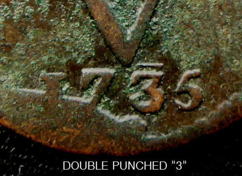 "1735 DUTCH EAST INDIA COMPANY (V.O.C.) 287 YEAR OLD DUIT SCARCE DOUBLE ""3"""