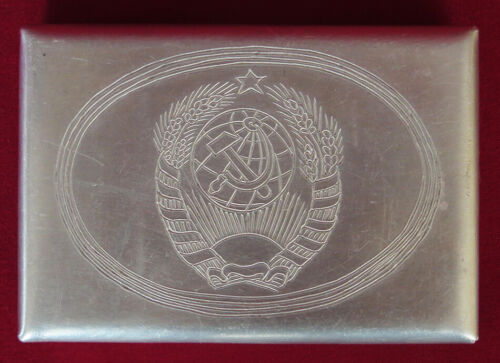 RARE Soviet WWII Cigarette case COAT ARMS USSR 11 BANDS Trench Art Russian WW II