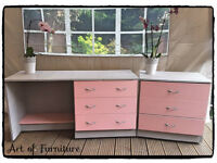 A Set of Bedroom Furniture - Chest & Dressing Table/Desk Hand Painted Paris Grey & Pink Chalk Paint