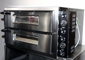 New Italian Double Deck Electric Pizza Oven Single Phase Commercial 28 Inch