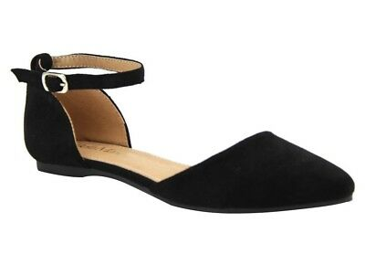 Women's Classic Ballerina Flats with  ankle Strap pointy toe black rose gold ()