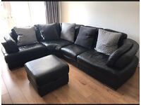 L-Shaped (Right Hand) Black Leather 5 Seater Sofa w/ Footstool