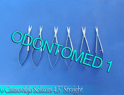 6 Castroviejo Scissors Ophthalmic Surgical Instruments Straight 4.5