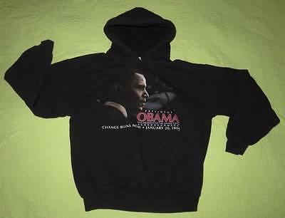 President Barack OBAMA Inaugural Black HOODIE Sweatshirt Child Sz M Change Hero