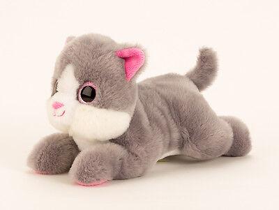 Knuddelige süße Katze mit großen Augen in grau/weiß Länge 27 cm
