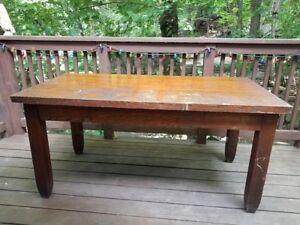 Solid quartersawn tiger oak table / desk - vintage possibly antique