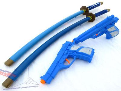 Toy Guns Blue Ninja Set! 2x Blue 9MM Pistols & 2x Blue Ninja Katanas](Blue Ninja)
