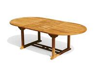 JATI TEAK HARDWOOD GARDEN DINING TABLE ~ EXTENDING