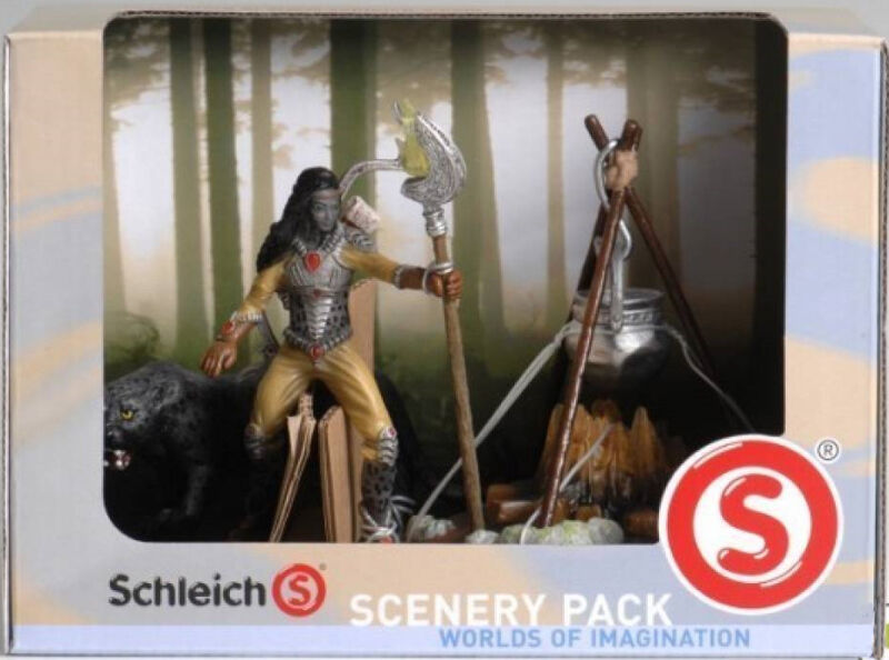 SCHLEICH Bayala 41811 Noctis Scenery Pack - Noctis Figure, Panther & Camp Fire